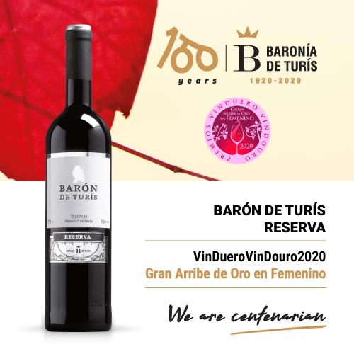 Reserve red wine Baronía de Turís Gran Arribe de Oro en Femenino Vinduero 2020