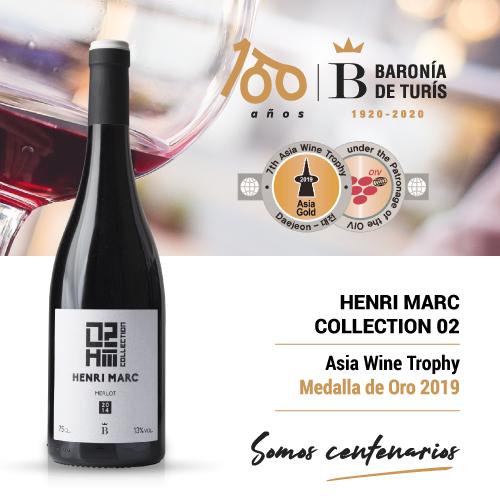 Vino tinto monovarietal Henri Marc 02 Merlot Oro Asia Wine Trophy 2019