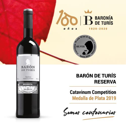 Vino tinto reserva Barón de Turís Plata Catavinum 2019